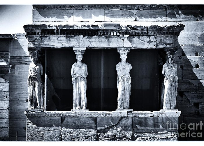 Porch Of The Caryatids Greeting Card featuring the photograph Porch Of The Caryatids by John Rizzuto