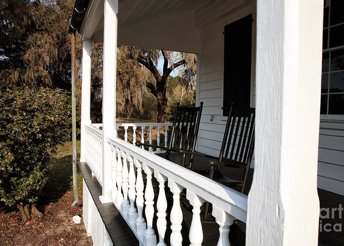 Porch View Greeting Card featuring the photograph Porch View by John Rizzuto