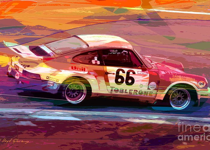 Porsche 911 Greeting Card featuring the painting Porsche 911 Racing by David Lloyd Glover