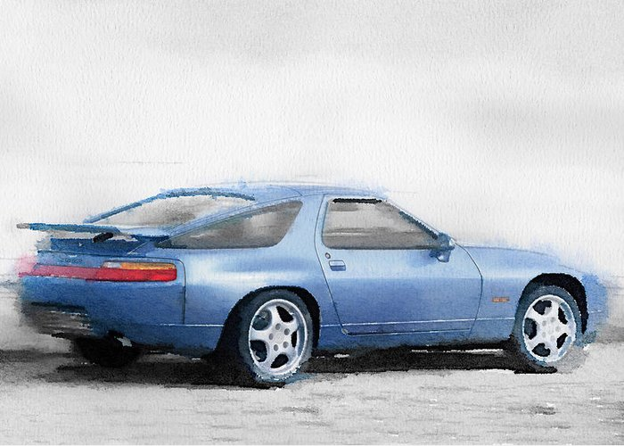 Porsche 928 Greeting Card featuring the painting Porsche 928 Watercolor by Naxart Studio