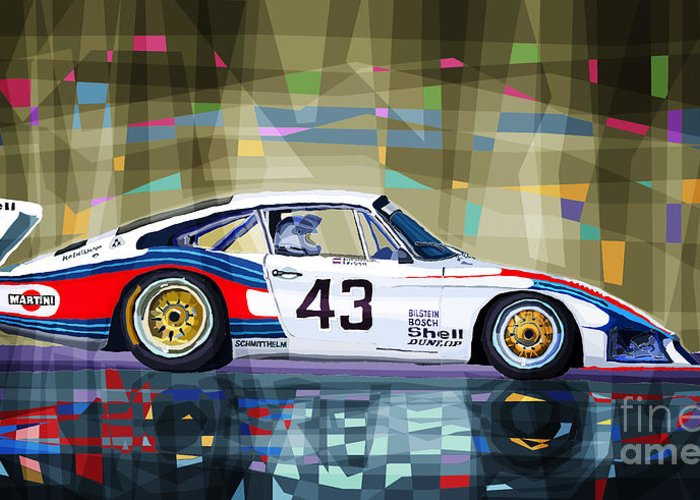 Automotive Greeting Card featuring the drawing Porsche 935 Coupe Moby Dick by Yuriy Shevchuk