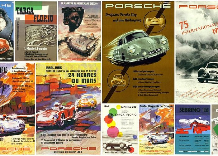 Racing Greeting Card featuring the photograph Porsche Racing Posters Collage by Don Struke