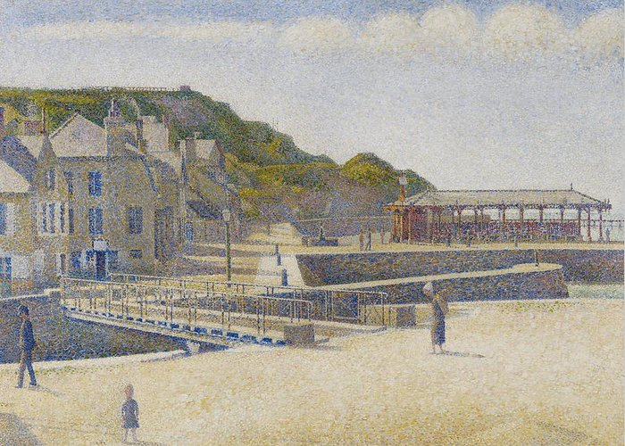 Sea Greeting Card featuring the painting Port En Bessin by Georges Pierre Seurat