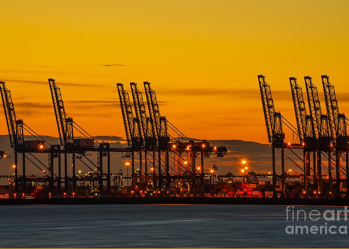 Bay Greeting Card featuring the photograph Port Of Felixstowe by Svetlana Sewell