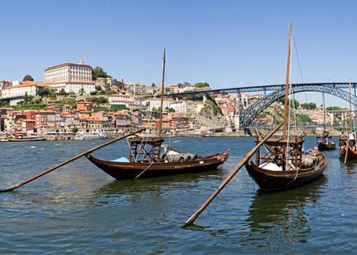 Porto Greeting Card featuring the photograph Port Wine Boats In Porto City by Jose Elias - Sofia Pereira