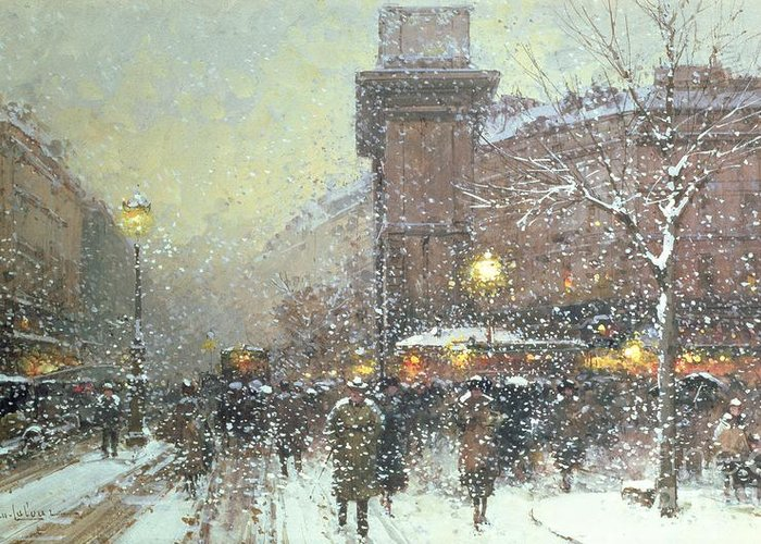 Winter Greeting Card featuring the painting Porte St Martin In Paris by Eugene Galien Laloue