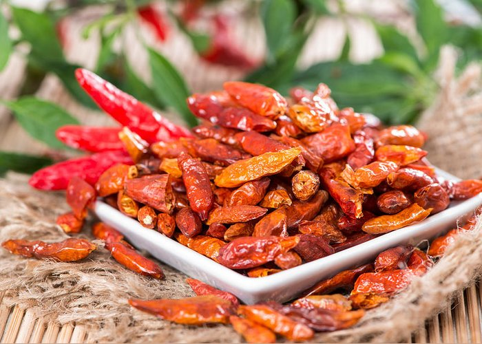 Chilli Greeting Card featuring the photograph Portion Of Dried Chillies by Handmade Pictures