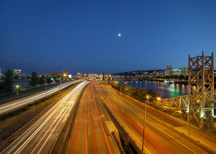 Portland Greeting Card featuring the photograph Portland City Blue Hour by David Gn