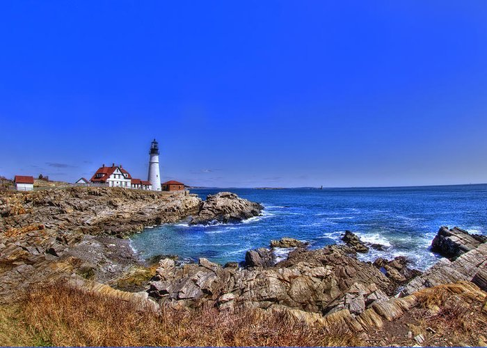 Atlantic Ocean Greeting Card featuring the photograph Portland Head Light 4 by Joann Vitali