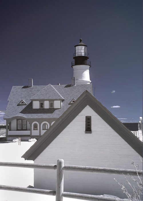 Atlantic Ocean Greeting Card featuring the photograph Portland Head Light In Ir by Joann Vitali