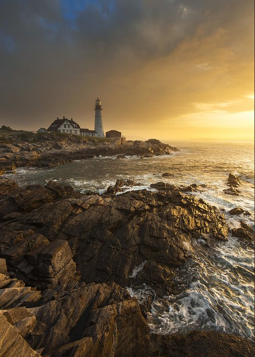 Sunrise Greeting Card featuring the photograph Portland Head Light by Joseph Rossbach