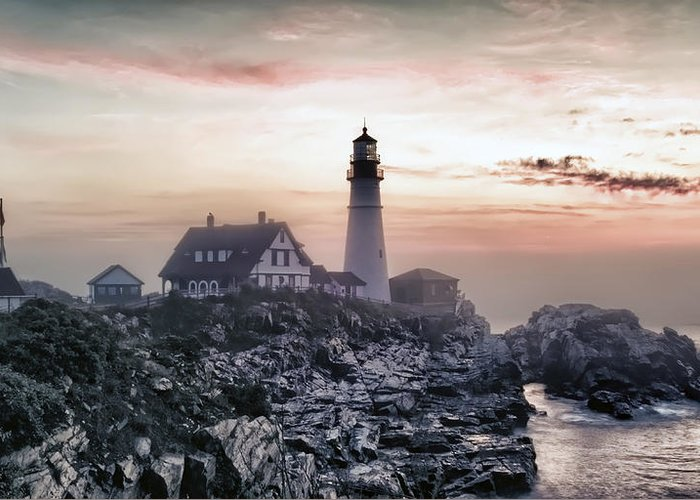 Architecture Greeting Card featuring the photograph Portland Head Light Summer Sunrise by Richard Bean