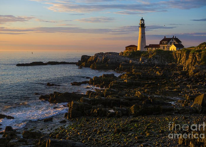 Portland Head Lighthouse Greeting Card featuring the photograph Portland Head Lighthouse At Dawn by Diane Diederich