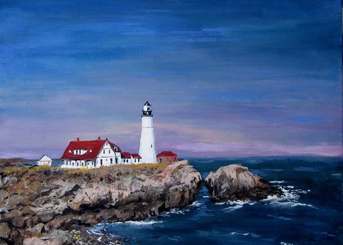 Lighthouse Greeting Card featuring the painting Portland Head Lighthouse by Jack Skinner