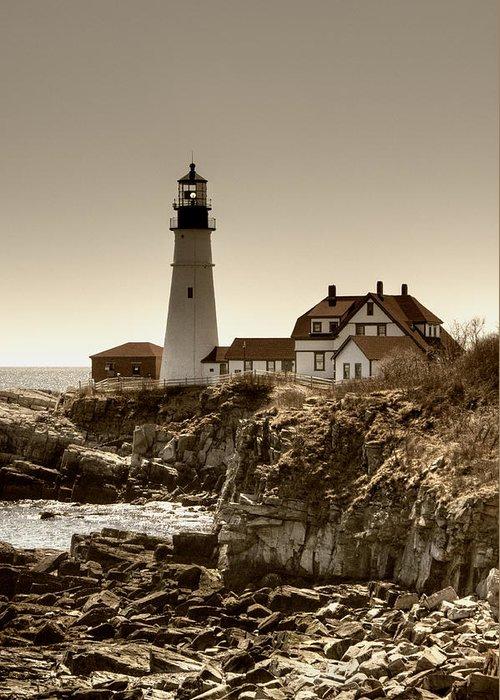 Atlantic Ocean Greeting Card featuring the photograph Portland Head Lighthouse by Joann Vitali