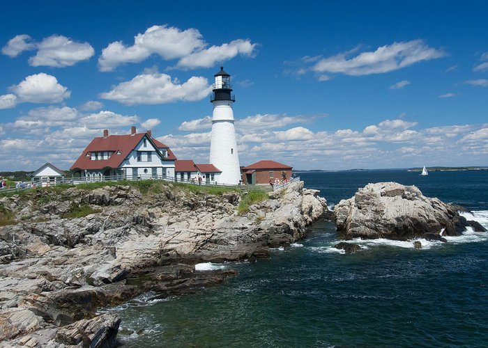 Buildings Greeting Card featuring the photograph Portland Headlight 0219 by Guy Whiteley