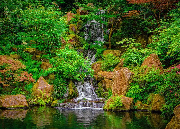 Portland Greeting Card featuring the photograph Portland Japanese Garden by Lee Cuellar