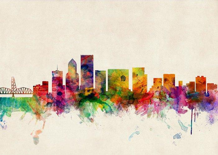 Watercolour Greeting Card featuring the digital art Portland Oregon Skyline by Michael Tompsett