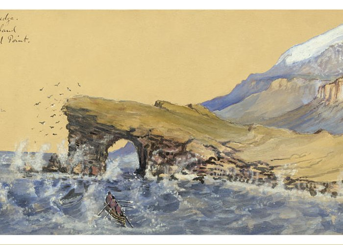 Faroese Greeting Card featuring the painting Portland Point Natural Bridge Circa 1862 by Aged Pixel