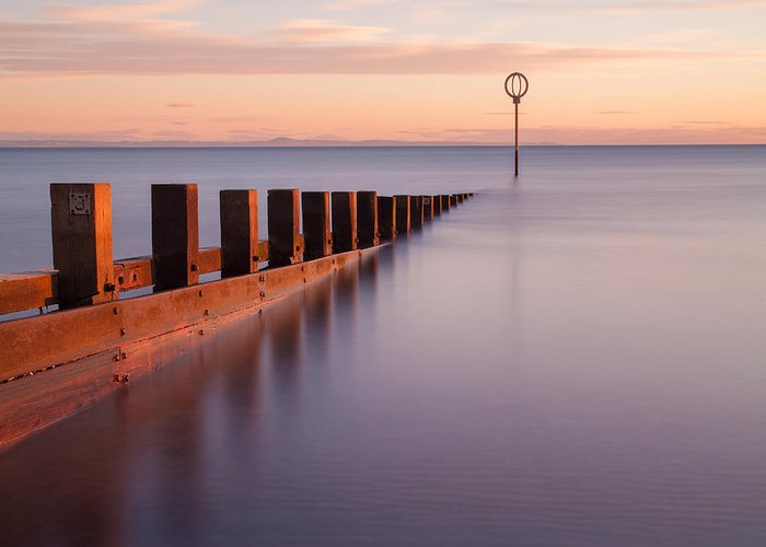 Dawn Greeting Card featuring the photograph Portobello Beach Groynes by John Farnan