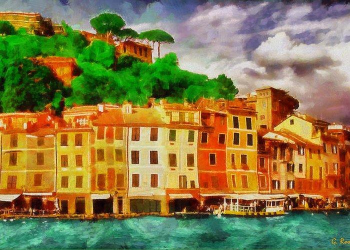 Rossidis Greeting Card featuring the painting Portofino I by George Rossidis