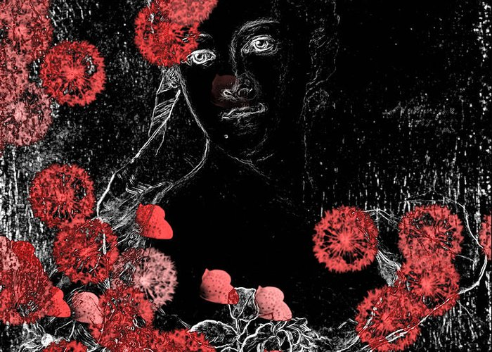 Black Digital Art Greeting Card featuring the digital art Portrait In Black - S0201b by Variance Collections