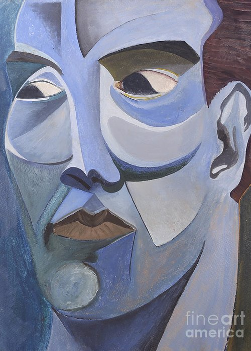 Portrait Greeting Card featuring the painting Portrait In Blue by Aaron Joslin