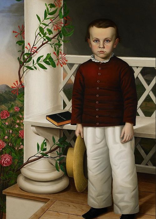 Portrait Greeting Card featuring the painting Portrait Of A Boy by James B Read