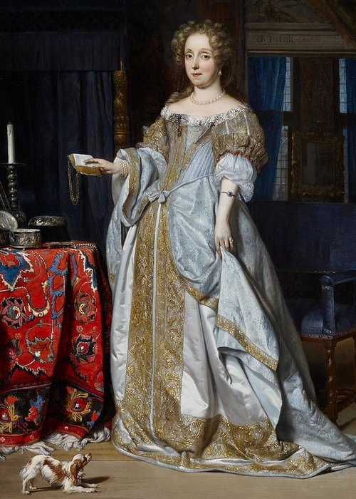 Portrait Greeting Card featuring the painting Portrait Of A Lady by Gabriel Metsu