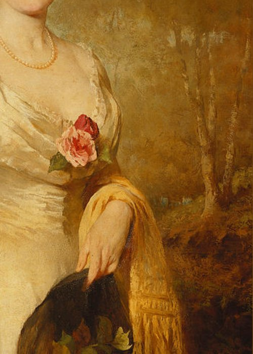 British Greeting Card featuring the painting Portrait Of A Lady In A White Dress by George Elgar Hicks