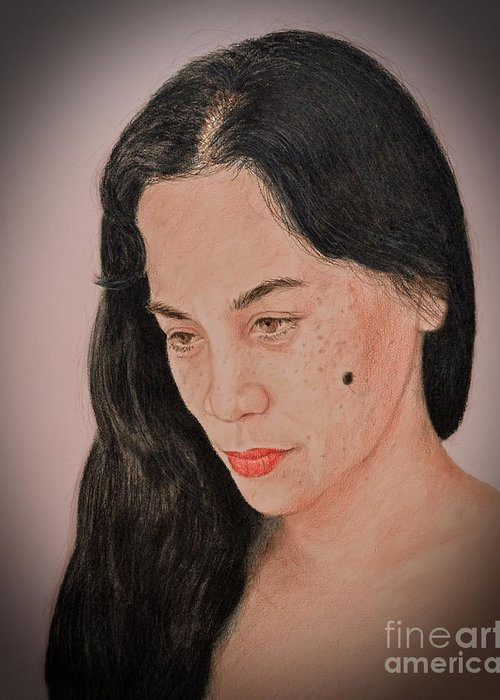 Portrait Of A Filipina Beautfy With A Mole On Her Cheek Greeting Card featuring the drawing Portrait Of A Long Haired Filipina Beautfy With A Mole On Her Cheek Fade To Black Version by Jim Fitzpatrick