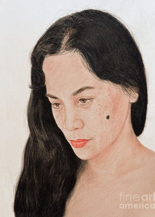 Portrait Of A Filipina Beautfy With A Mole On Her Cheek Greeting Card featuring the drawing Portrait Of A Long Haired Filipina Beautfy With A Mole On Her Cheek by Jim Fitzpatrick