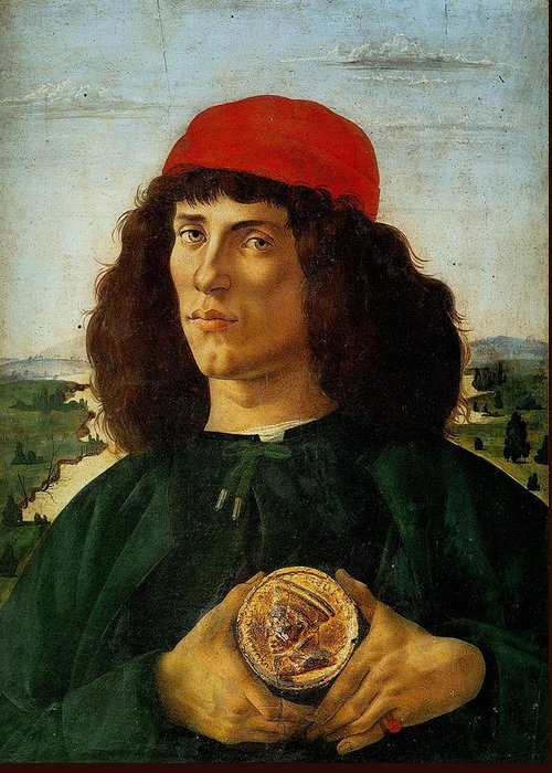 Sandro Botticelli Greeting Card featuring the painting Portrait Of A Man With A Medal Of Cosimo The Elder by Sandro Botticelli
