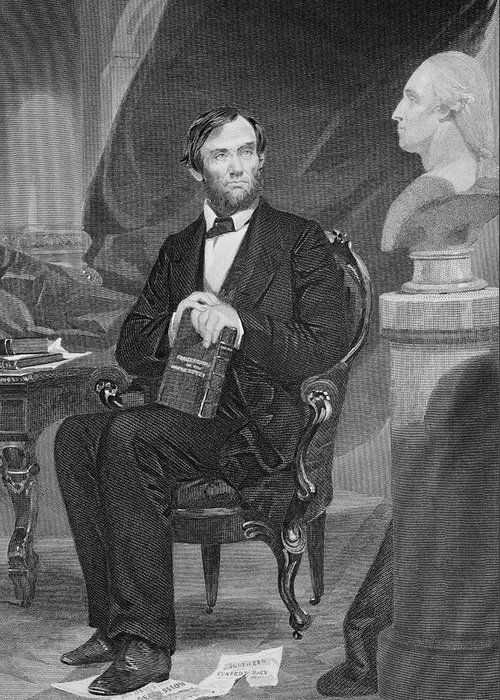 Male Greeting Card featuring the painting Portrait Of Abraham Lincoln by Alonzo Chappel