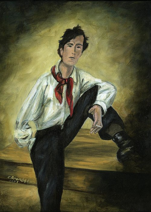 Original Oil Painting Of Amedeo Modigliani From Photograph Layering Method Like The Classical Painters Cecilia Brendel Art Man Artist Portrait Rembrandt Greeting Card featuring the painting Portrait Of Amedeo Modigliani by Cecilia Brendel