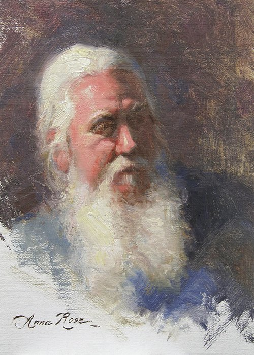 Beard Greeting Card featuring the painting Portrait Of Artist Michael Mentler by Anna Rose Bain
