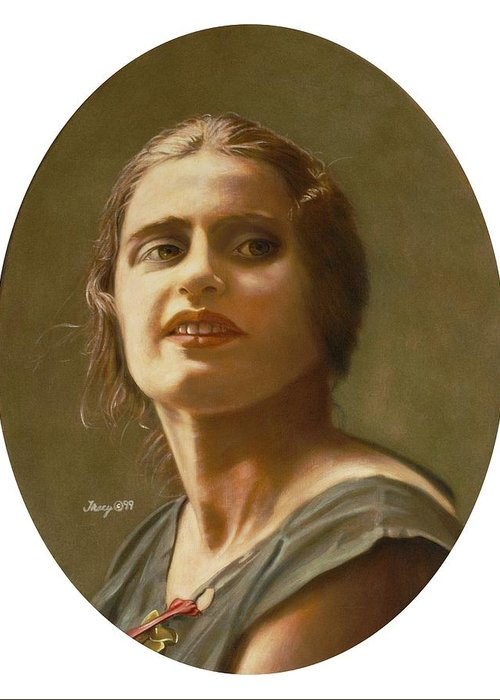 Portrait Of Ayn Rand Greeting Card featuring the painting Portrait Of Ayn Rand by Robert Tracy