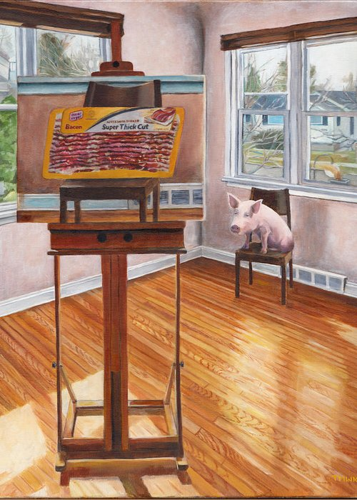Pig Greeting Card featuring the painting Portrait Of Bacon by Thomas Weeks