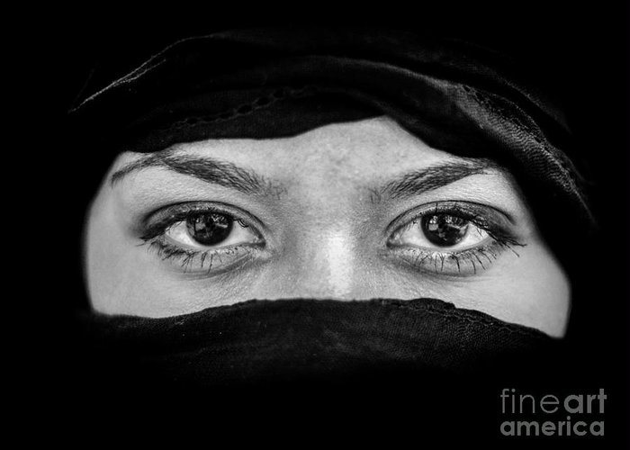 Allah Greeting Card featuring the photograph Portrait Of Beautiful Arab Woman Wearing Black Scarf In Black An by Aleksandar Mijatovic