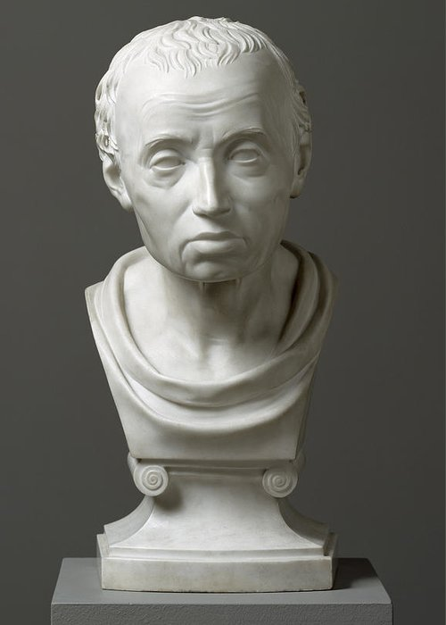 Immanuel; Male; Philosopher; Philosophy; Classical Style; Bust Greeting Card featuring the sculpture Portrait Of Emmanuel Kant by Friedrich Hagemann