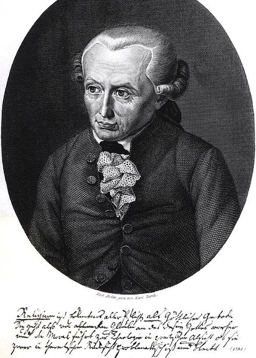 German Philosopher; Male; Wig; Lace; Stobbe; Immanuel Greeting Card featuring the drawing Portrait Of Emmanuel Kant by German School