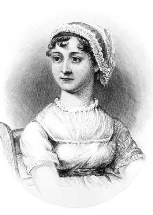 Female; Novelist; Writer; Regency Greeting Card featuring the drawing Portrait Of Jane Austen by English School