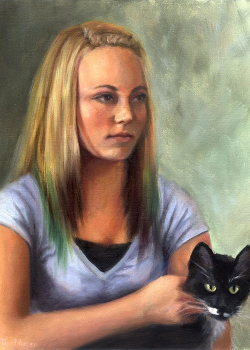 Portrait Of A Young Girl With A Cat Greeting Card featuring the painting Portrait Of London by Terri Meyer