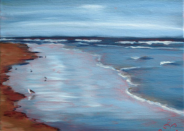 Water Greeting Card featuring the painting Portrait Of Ogunquit by Trina Teele