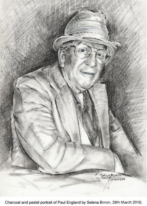 Portrait Greeting Card featuring the drawing Portrait Of Paul England by Selena Boron
