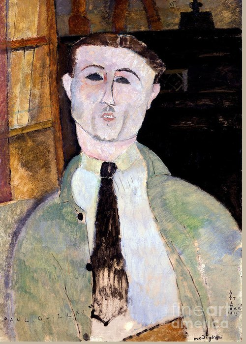 Modigliani Greeting Card featuring the painting Portrait Of Paul Guillaume by Amedeo Modigliani