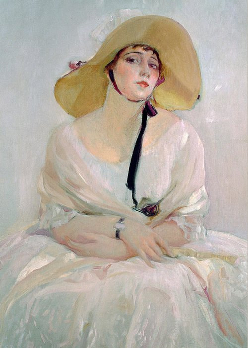 Straw; Bonnet; Hat; White; Dress; Female; Young Woman; Disdain Greeting Card featuring the painting Portrait Of Raquel Meller by Joaquin Sorolla y Bastida