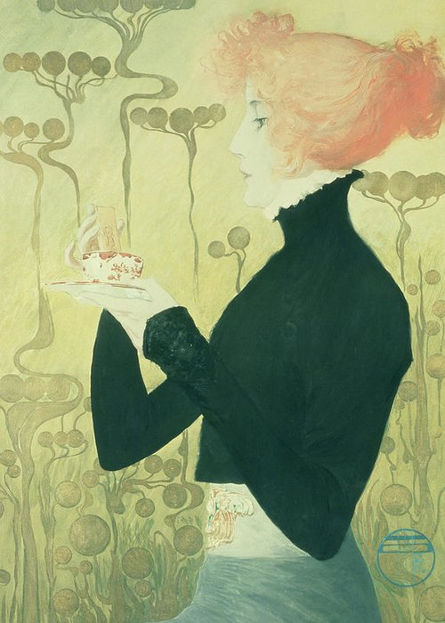 Female; Portrait; Tea; Drinking; Actress; Biscuit Greeting Card featuring the drawing Portrait Of Sarah Bernhardt by Manuel Orazi