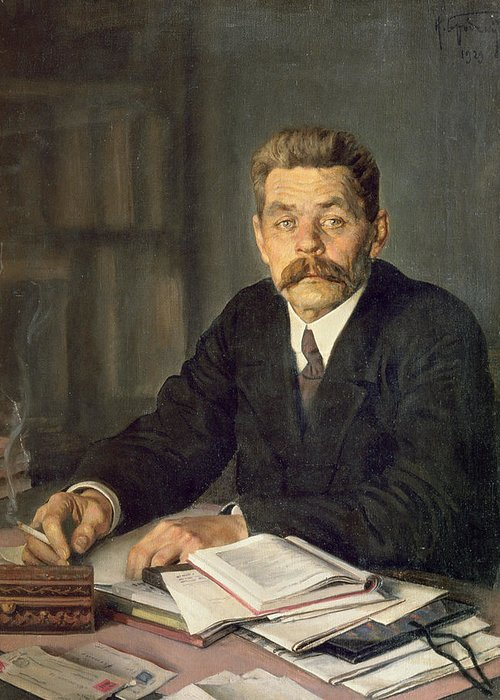 Portrait of the author maxim gorky 1868 1939 1929 oil on canvas male greeting card featuring the photograph portrait of the author maxim gorky 1868 1939 m4hsunfo