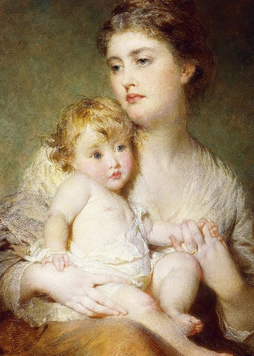 Affection Greeting Card featuring the painting Portrait Of The Duchess Of St Albans With Her Son by George Elgar Hicks
